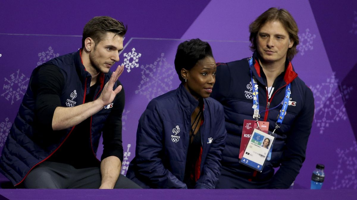 Морган Сипре и Ванесса Джеймс (Франция), тренер Джон Циммерман на Олимпийских играх-2018
