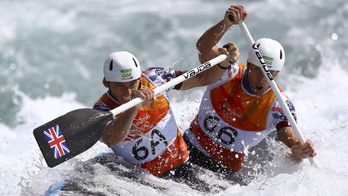 David Florence (GBR) and Richard Hounslow (GBR) of the United Kingdom compete in the C2 semi-final