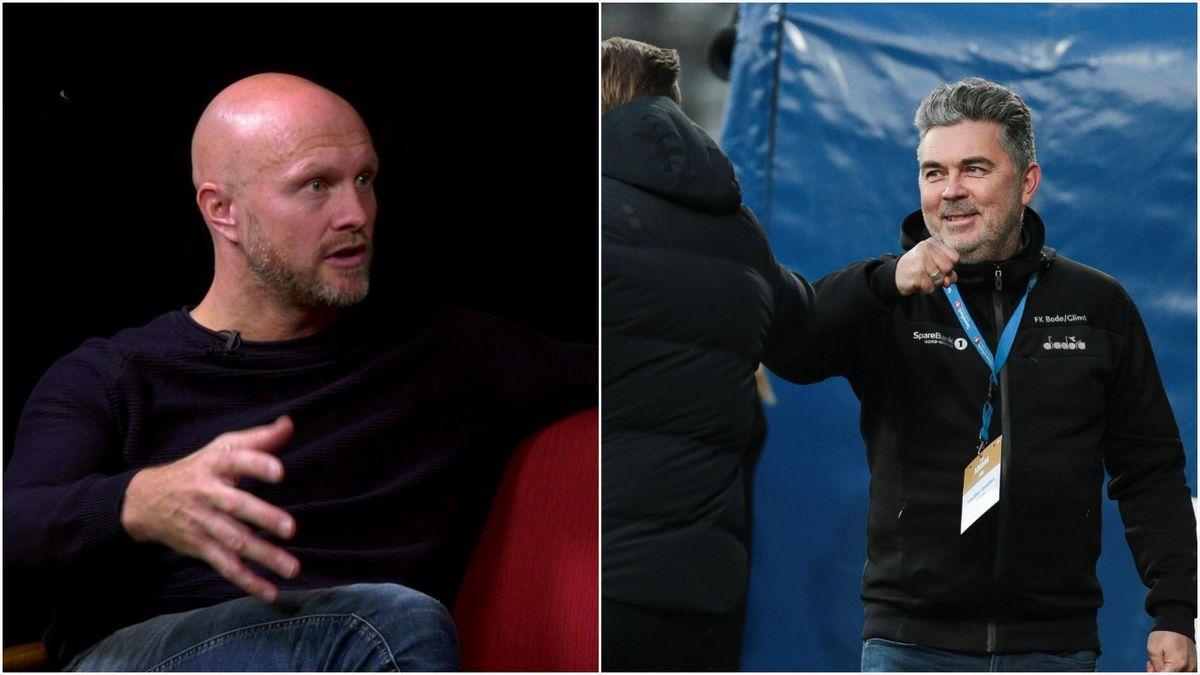 Eurosports fotballekspert Joacim Jonsson og daglig leder i Bodø/Glimt Frode Thomassen.