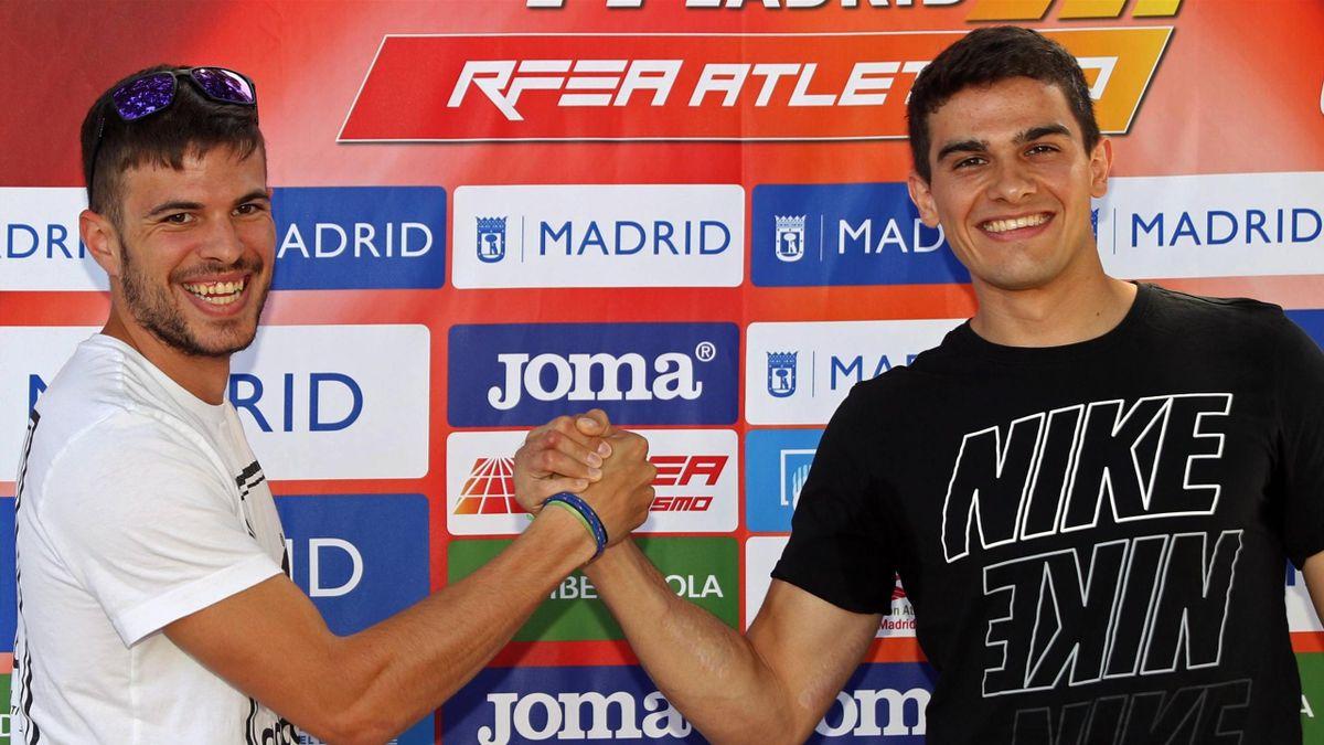 Bruno Hortelano (dcha), campeón de Europa de 200 metros, y Óscar Husillos protagonizan este viernes el gran duelo del mitin de Madrid en Moratalaz.
