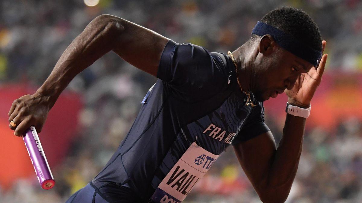 Ludvy Vaillant lors de la finale du relais 4x400m.