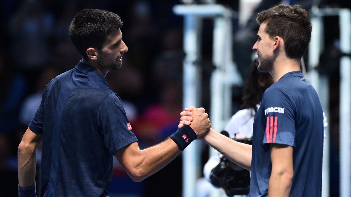 Novak Djokovic et Dominic Thiem à Londres lors du dernier Masters.