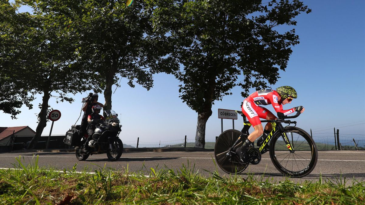 Simon Yates of Great Britain and Team Mitchelton-Scott Red Leader Jersey / Cobreces Village / Cantabrico sea / during the 73rd Tour of Spain 2018, Stage 16 a 32km Individual Time Trial stage from Santillana del Mar to Torrelavega