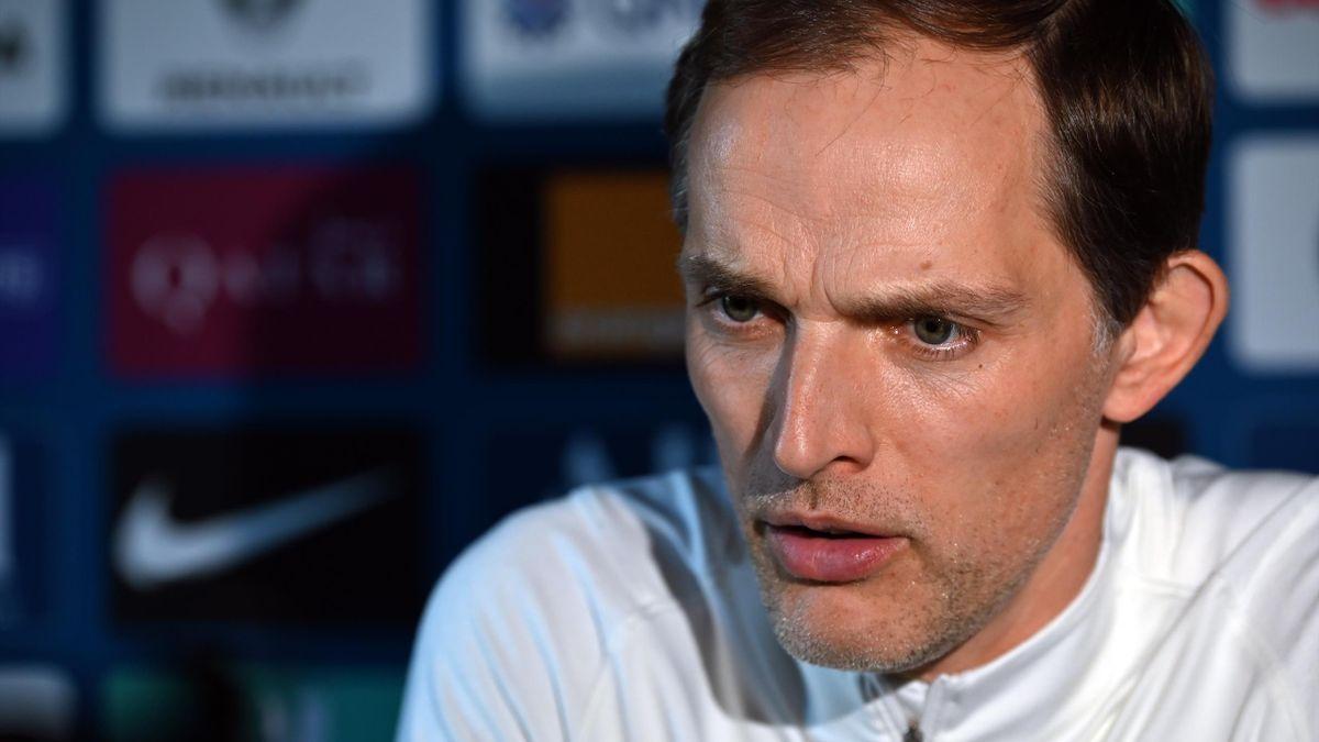 Paris Saint-Germain head coach Thomas Tuchel answers journalists