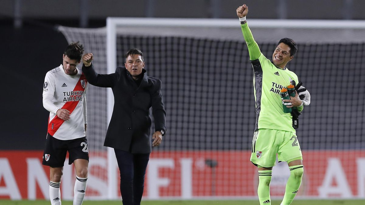 River midfielder Enzo Perez celebrates after playing in goal during the 2-1 win over Santa Fe