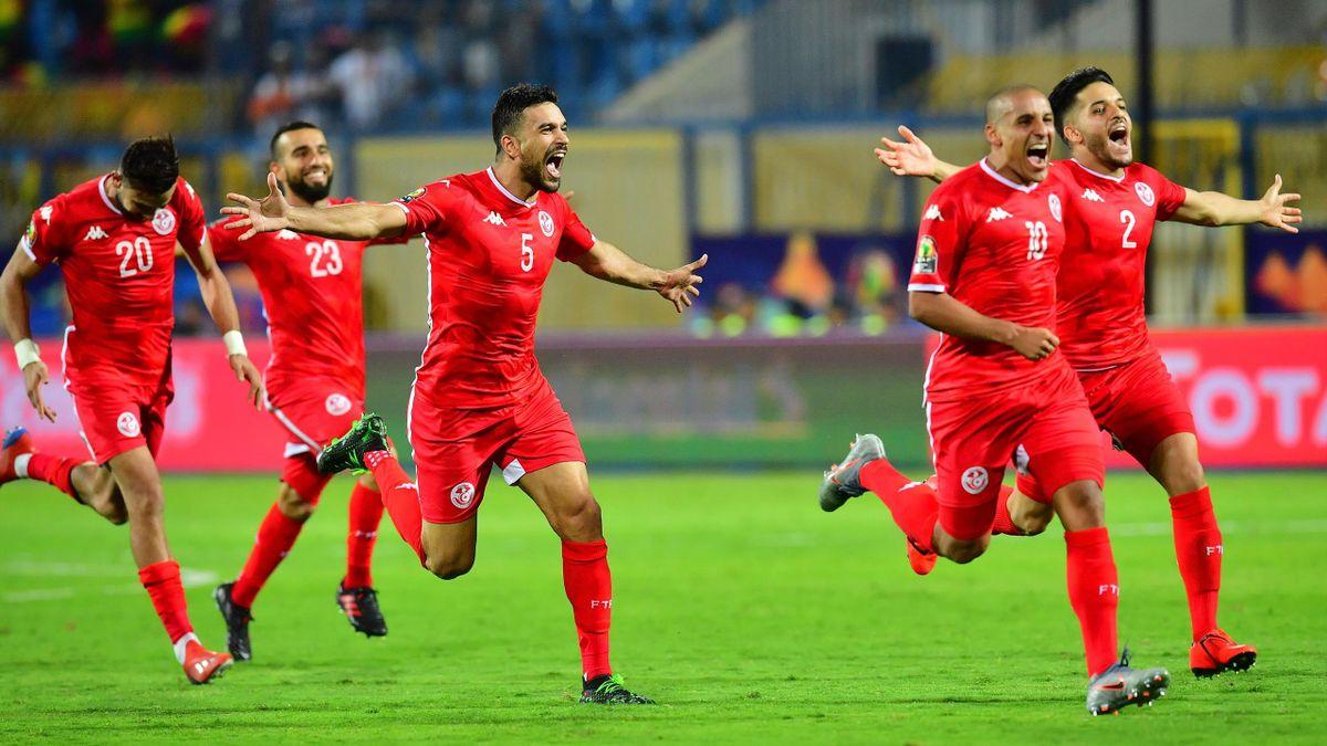 La joie des joueurs de la Tunisie après la qualification en quart de finale de la CAN 2019