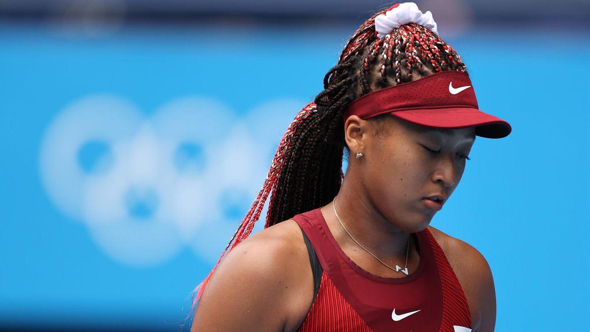 Naomi Osaka lors du 3e tour du tournoi olympique des JO de Tokyo face à Marketa Vondrousova, le 27 juillet 2021