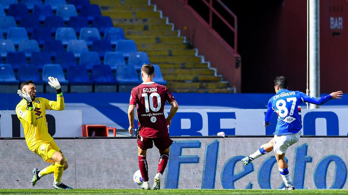 Sampdoria-Torino, Serie A 2020-2021: il gol decisivo di Antonio Candreva (Sampdoria) (Getty Images)
