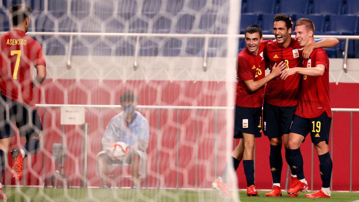 Celebración de gol de Mikel Merino en el España-Argentina. Tokio 2020.