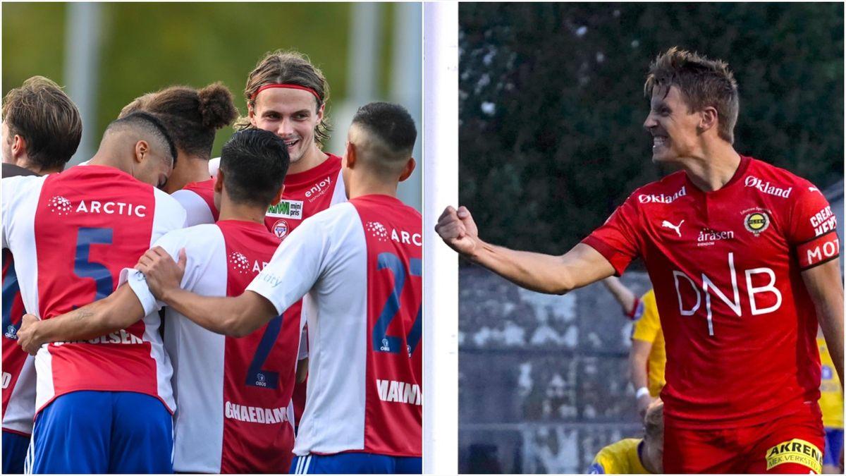KFUM-spillerne jubler over scoring mot Kristiansund, mens LSKs Thomas Lehne Olsen knytter neven for «Fuglas» tredje scoring mot Grorud.