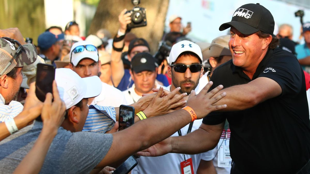 Phil Mickelson greets fans after winning the final round of World Golf Championships-Mexico Championship on a playoff hole against Justin Thomas (not in frame) at Club De Golf Chapultepec on March 4, 2018 in Mexico City.