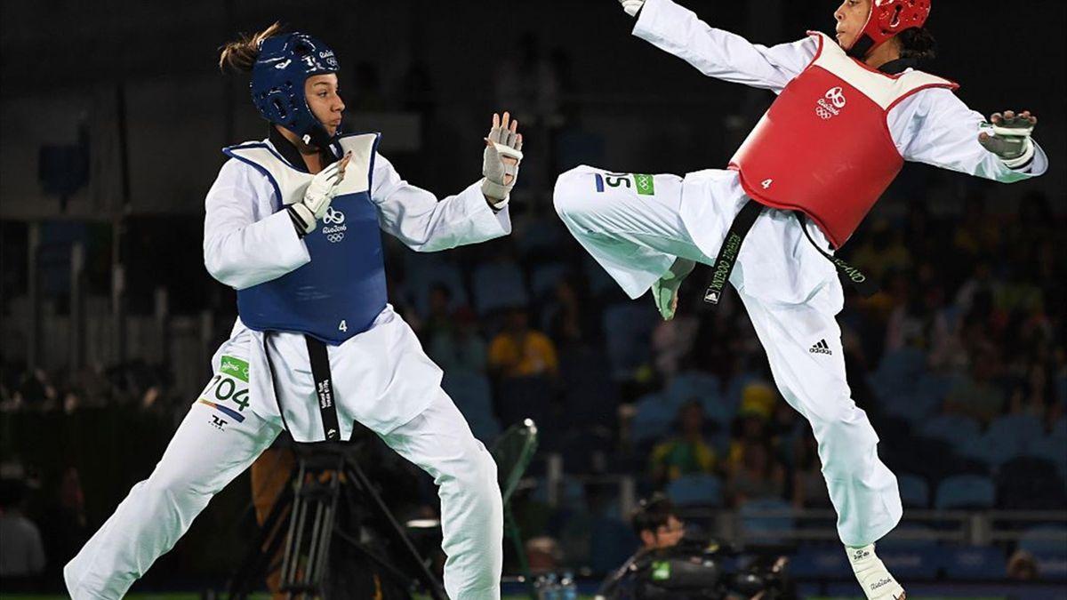 Reshmie Oogink in actie tijdens haar kwartfinalewedstrijd in Rio