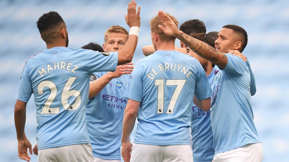 Gabriel Jesus (Manchester City) célèbre son ouverture du score face à Newcastle