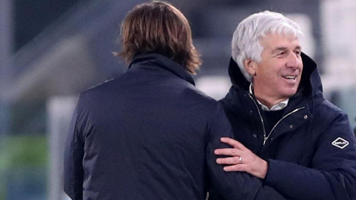 Gian Piero Gasperini insieme ad Andrea Pirlo, Juventus-Atalanta, Getty Images