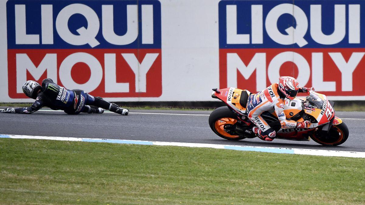 Marc Marquez (Honda HRC) et Maverick Viñales (Yamaha Factory) lors du Grand Prix d'Australie 2019