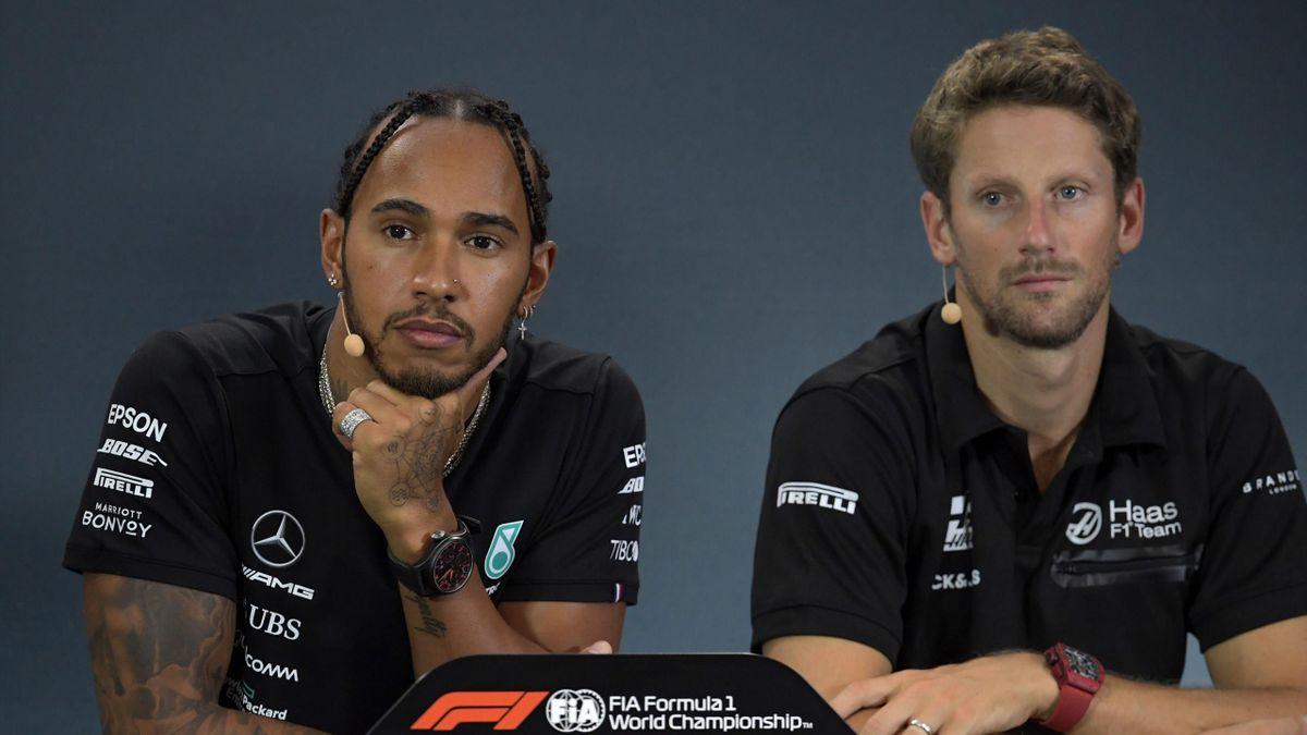 Lewis Hamilton et Romain Grosjean