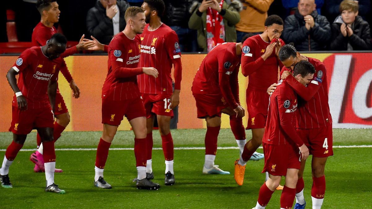 Andrew Robertson of Liverpool scores and celebrates during the UEFA Champions League group E match between Liverpool FC and RB Salzburg at Anfield on October 02, 2019 in Liverpool, United Kingdom.