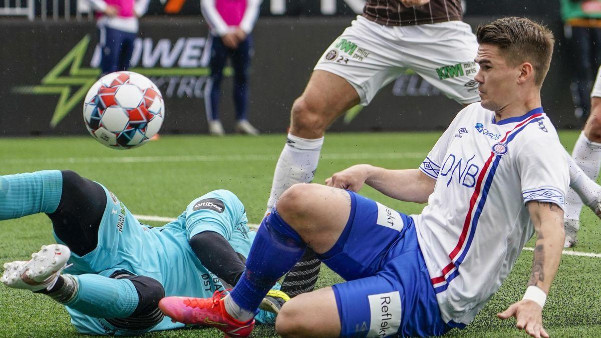 Vidar Örn Kjartansson under Eliteserie-kampen mot Mjøndalen på Consto Arena 24. mai.
