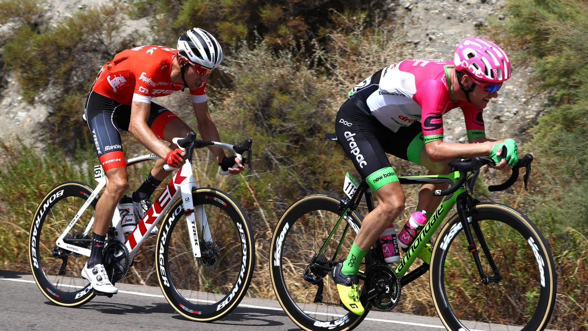 Simon Clarke of Australia and Team EF Education First - Drapac P/B Cannondale / Bauke Mollema of The Netherlands and Team Trek Segafredo / during the 73rd Tour of Spain 2018, Stage 5 a 188,7km stage from Granada to Roquetas de Mar / La Vuelta / on August