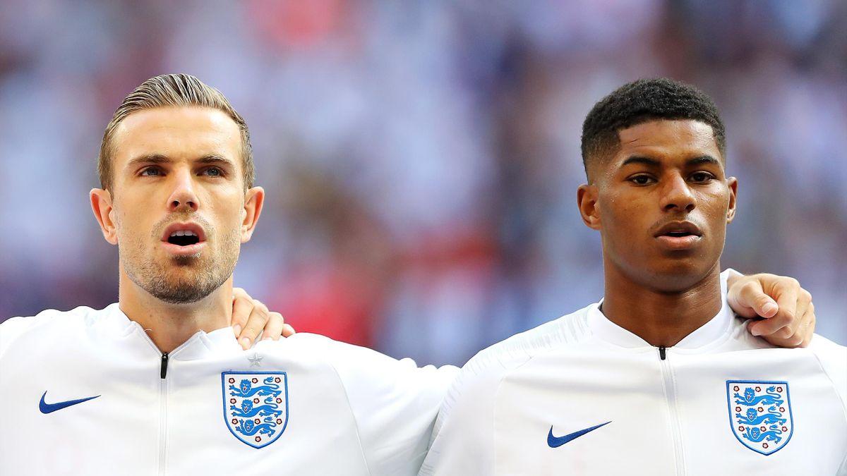 Jordan Henderson et Marcus Rashford avec la sélection anglaise.
