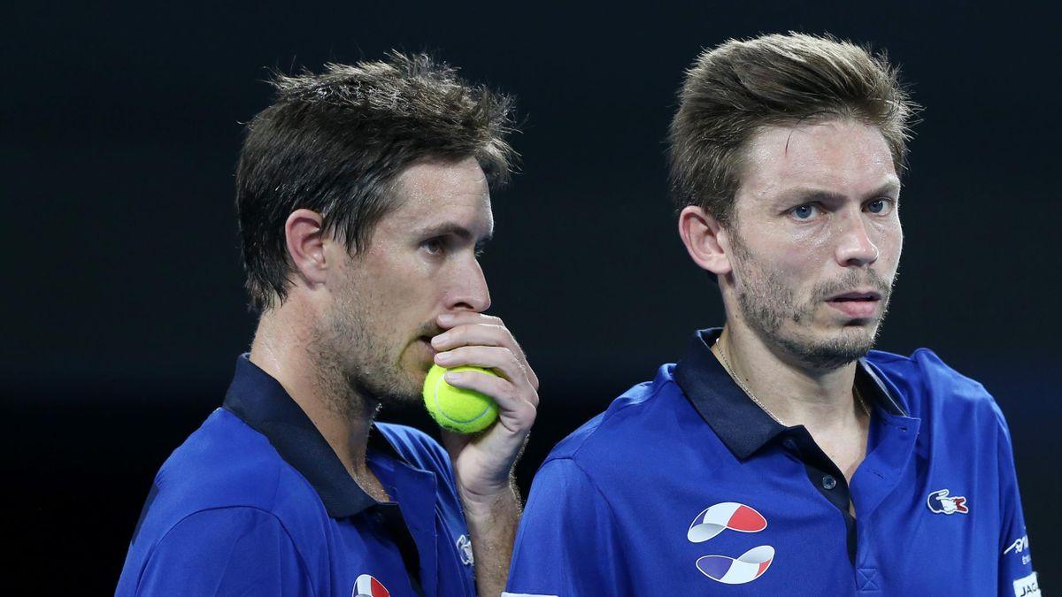 Nicolas Mahut et Edouard Roger-Vasselin lors de France - Serbie - ATP Cup 2020