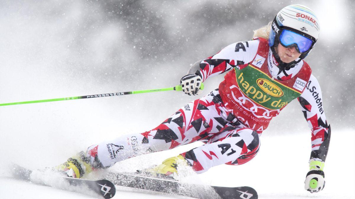 Eva-Maria Brem of Austria competes during the women's giant slalom at the FIS Ski World cup in the ski resort Jasna, near Liptovsky Mikulas, Slovakia, on March 07, 2016