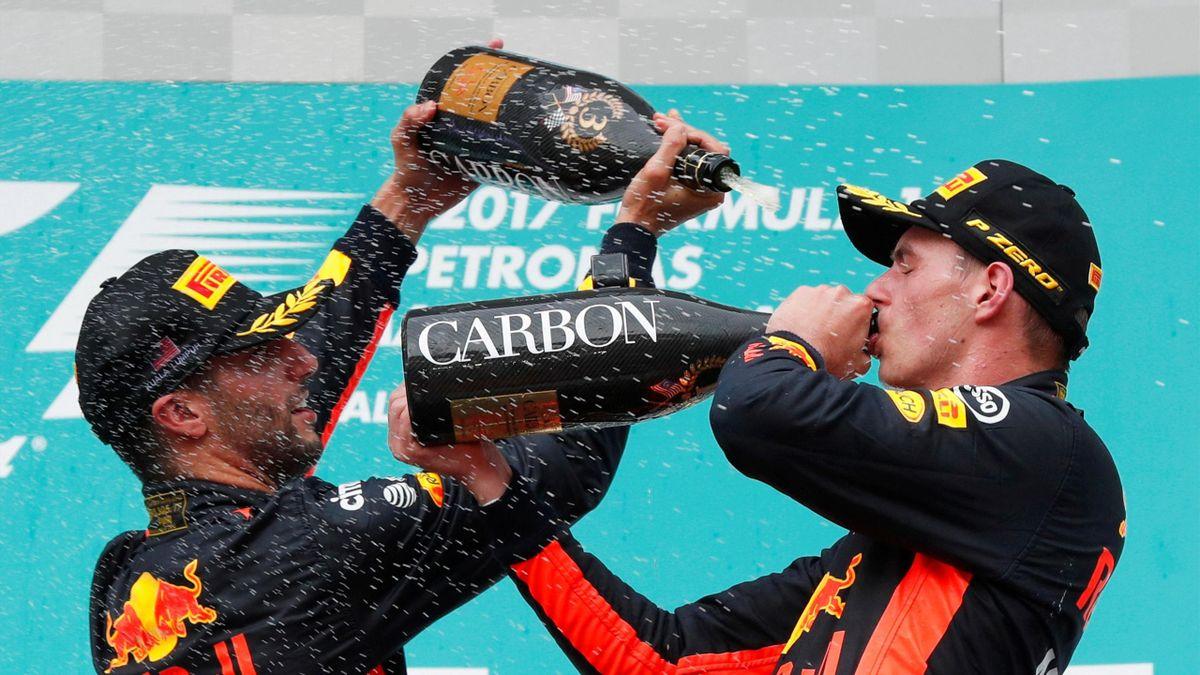 Daniel Ricciardo and Max Verstappen celebrate
