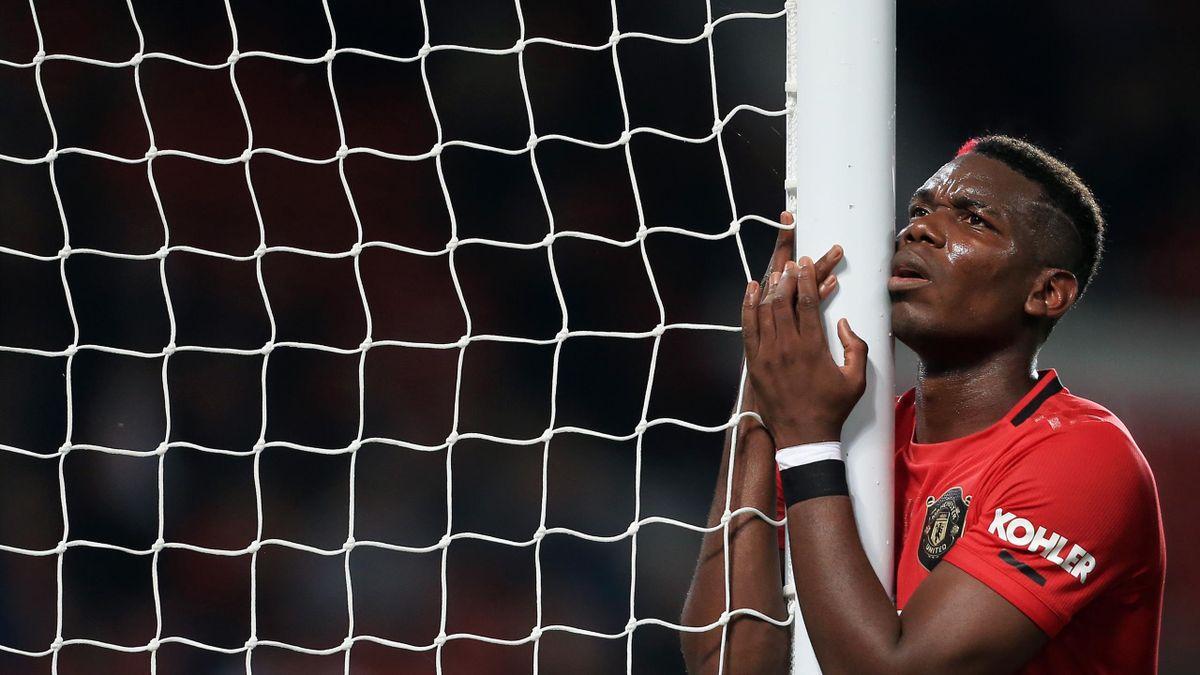 MANCHESTER, ENGLAND - SEPTEMBER 25: Paul Pogba of Man Utd looks dejected during the Carabao Cup Third Round match between Manchester United and Rochdale AFC at Old Trafford on September 25, 2019 in Manchester, England. (Photo by Simon Stacpoole/Offside/Of