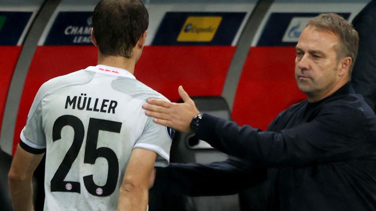 FC Bayern: Thomas Müller und Trainer Hansi Flick
