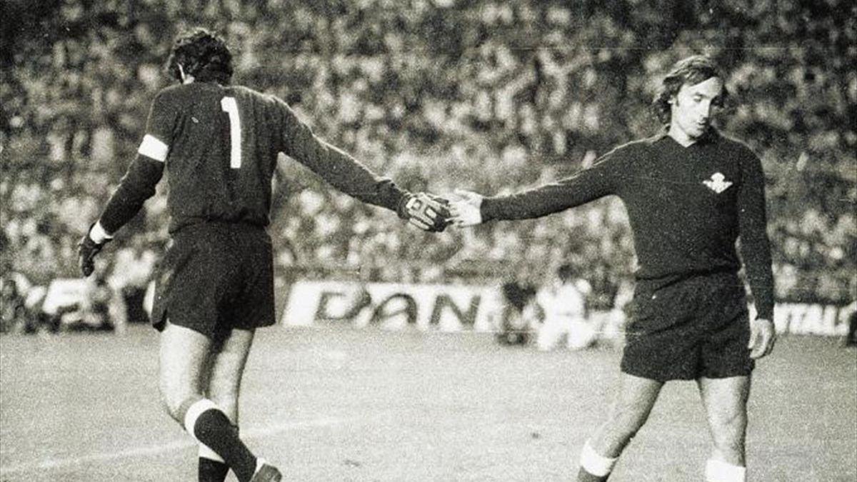 Iríbar y Esnaola en la final de Copa del Rey de 1977
