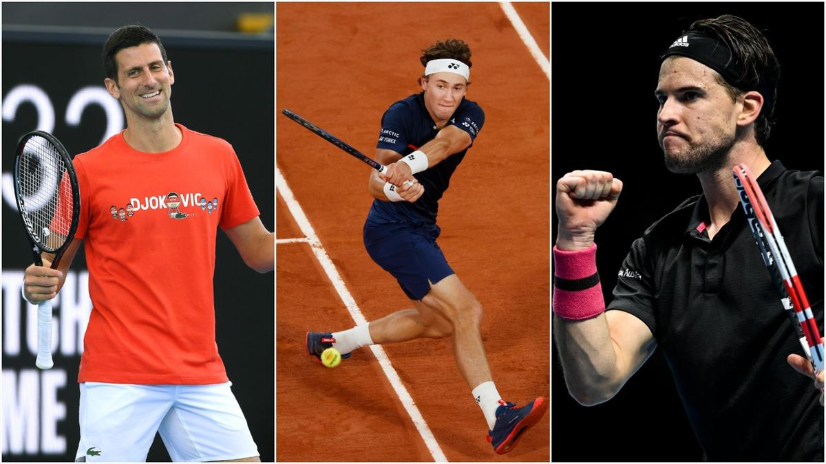 Novak Djokovic, Casper Ruud og Dominic Thiem.