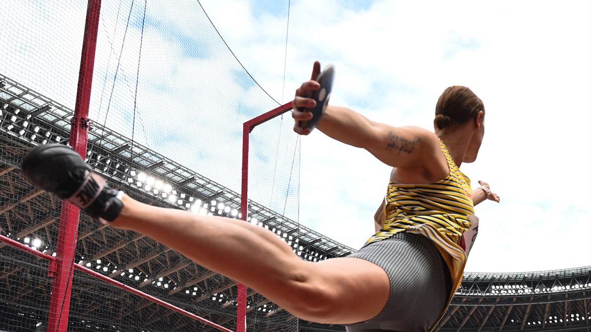 Kristin Pudenz im Diskus-Finale bei Olympia in Tokio