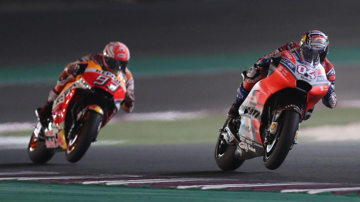 Dovizioso (Ducati Team), Marquez (Honda HRC) - GP of Qatar 2018