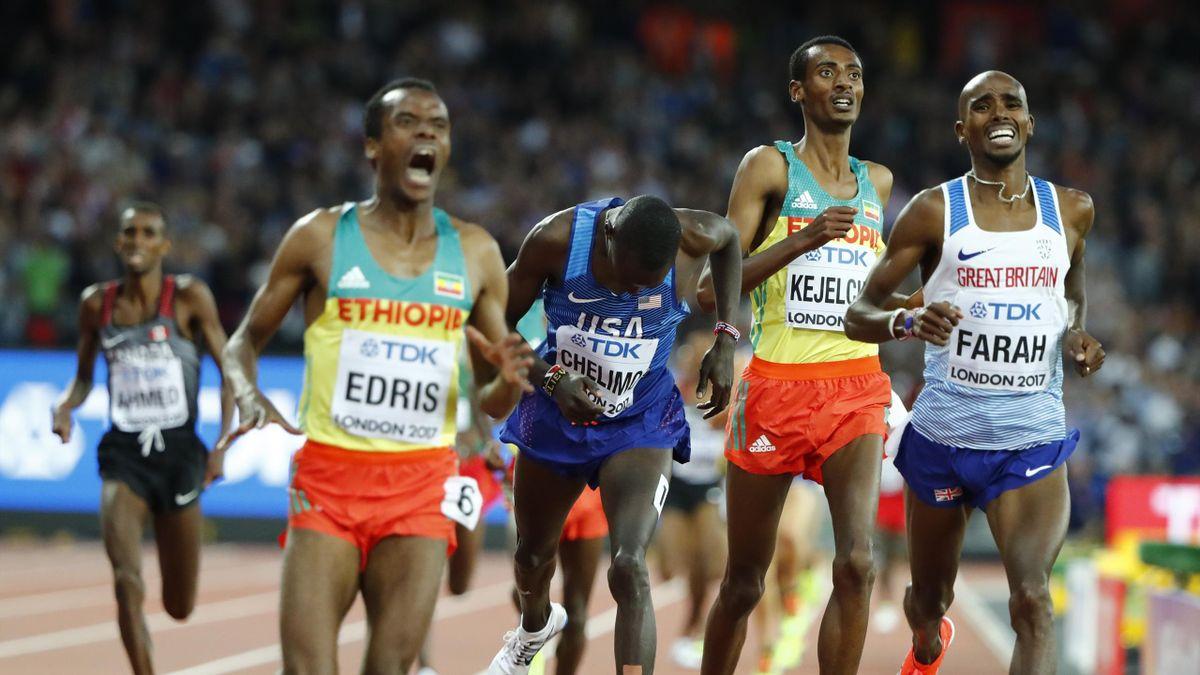 Muktar Edris of Ethiopia, Paul Kipkemoi Chelimo of the U.S., Yomif Kejelcha of Ethiopia and Mo Farah of Britain compete cross the finish line