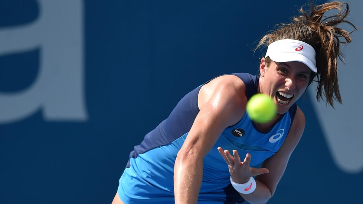 Johanna Konta of Britain hits a return against Daria Kasatkina of Russia during their women's singles quarter-final round match at the Sydney International tennis tournament in Sydney on January 11, 2017.
