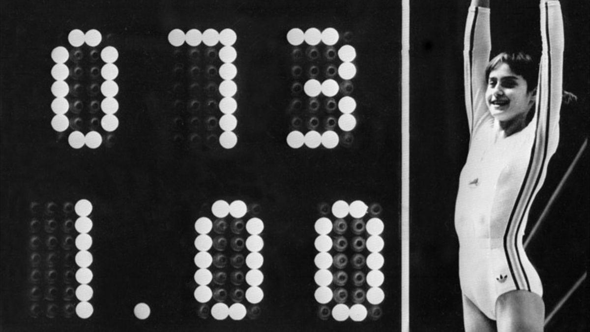 Nadia Comaneci breaks the scoreboard with her 'Perfect 1.00'
