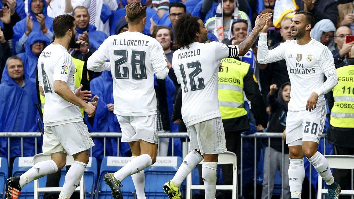 Marcos Llorente y Jesé celebran un gol del Real Madrid