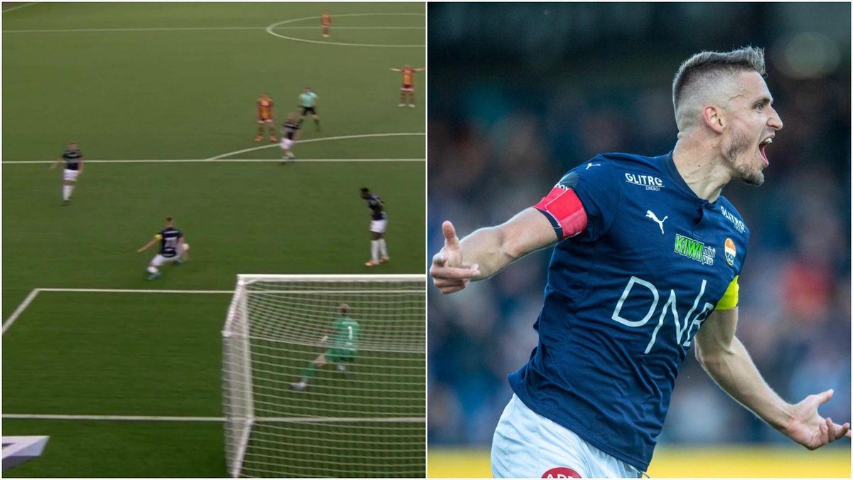 Ballen treffer armen til Gustav Valsvik innenfor sekstenmeteren til Sarpsborg 08 (t.v), før kapteinen feirer 1-0-scoringen 12 minutter senere.
