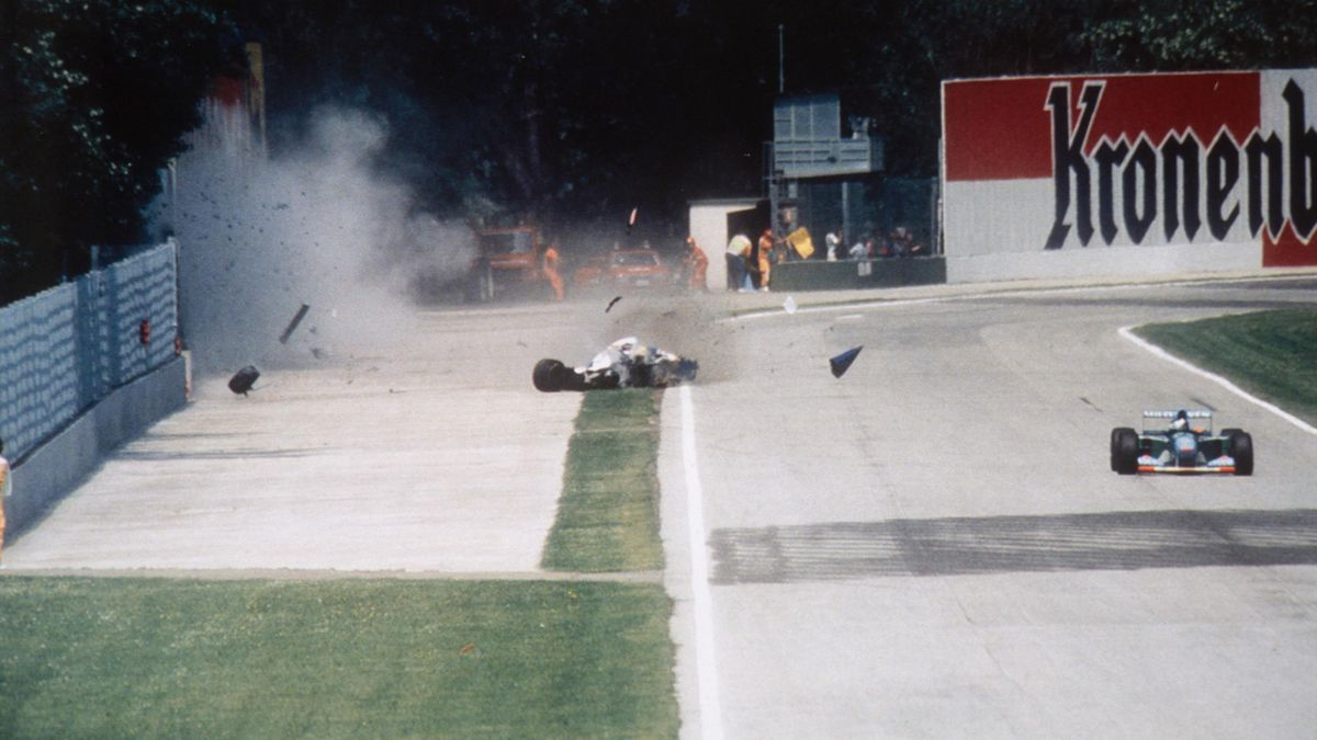 Formula One racer Ayrton Senna crashes into a wall during the 1994 San Marino Grand Prix in Imola, Italy. Senna later died at the Maggiore Hospital in Bologna