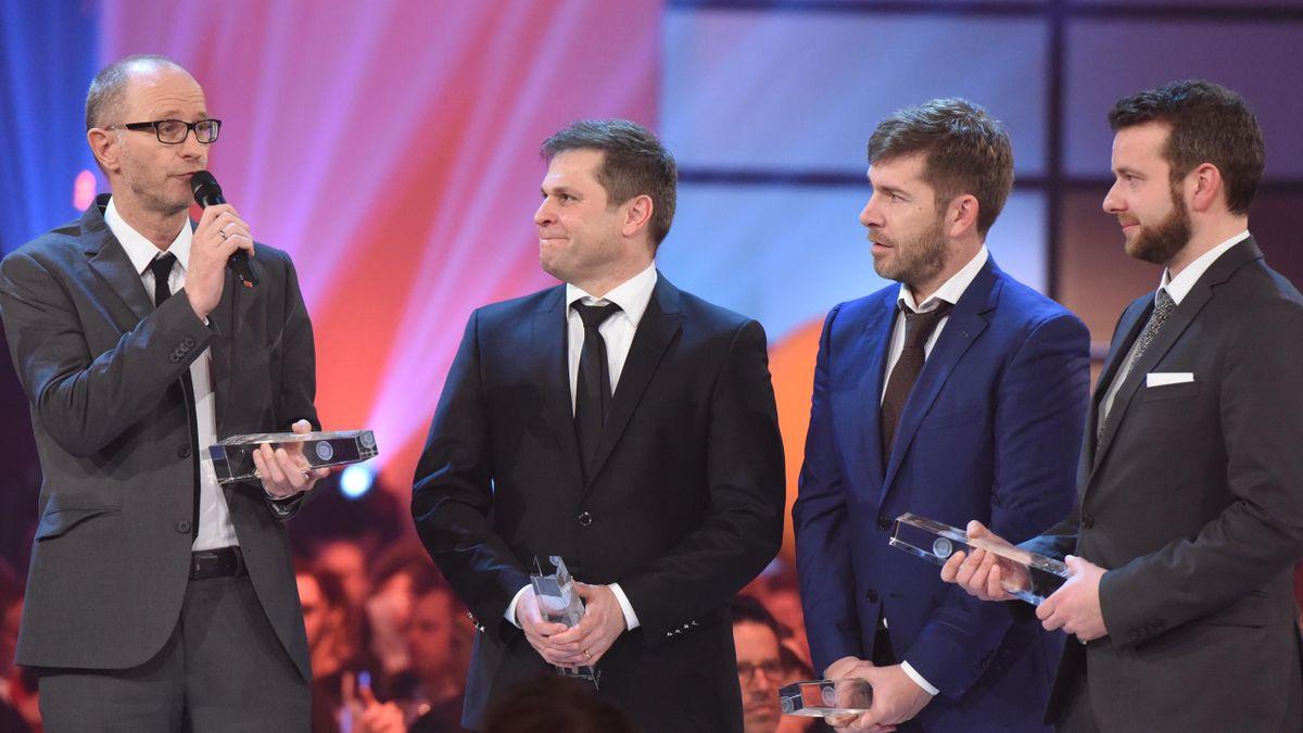 Deutscher Fernsehpreis 2017 für Eurosport: Matthias Stach, Markus Theil, Marco Hagemann und Frederic Jouon