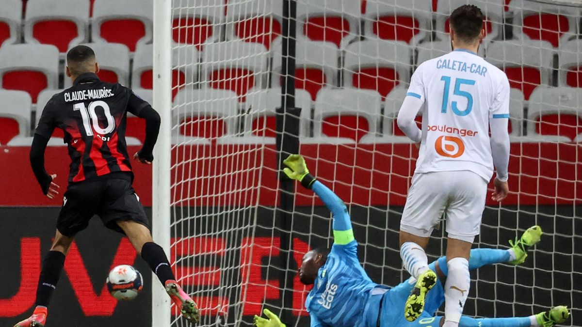 Alexis Claude Maurice marque lors de Nice - OM en Ligue 1