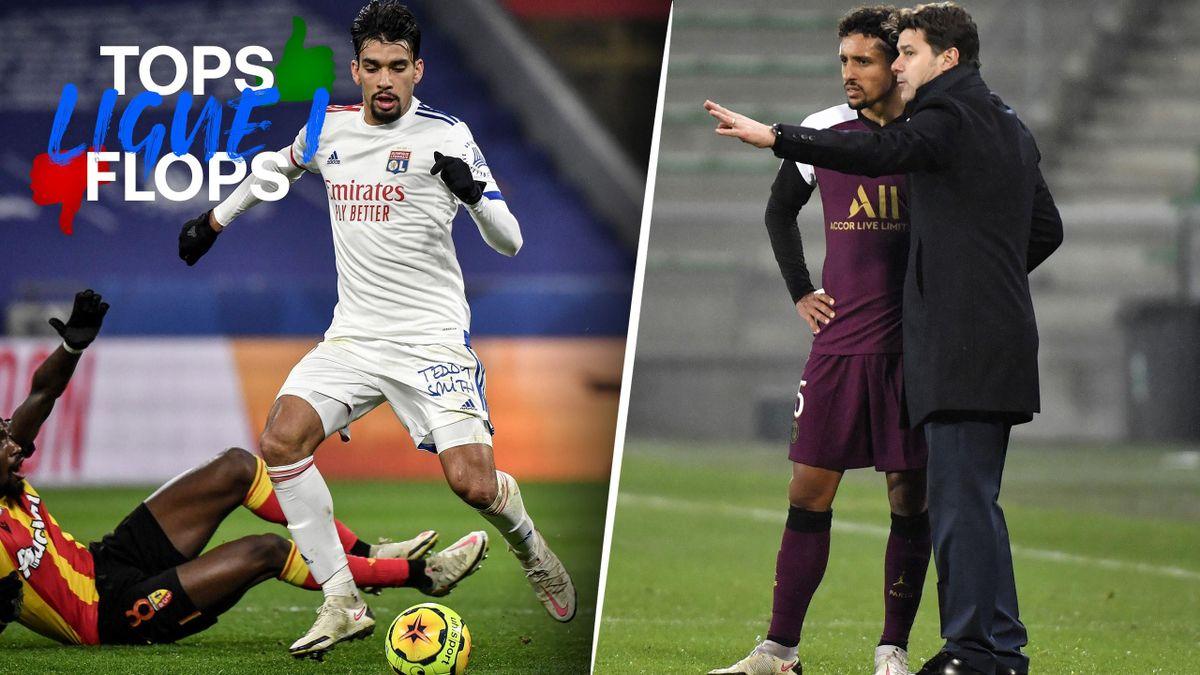 Lucas Paqueta (Lyon) et Mauricio Pochettino (PSG) sont dans les tops et flops de la 18e journée