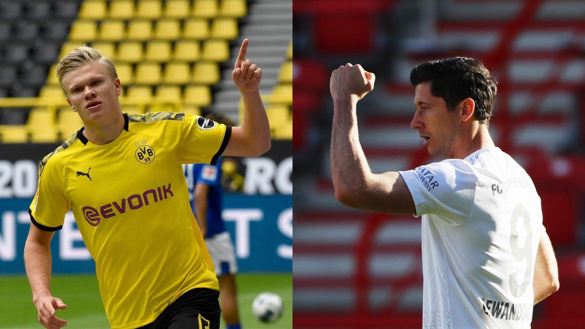Erling Braut Haaland (Dortmund) y Robert Lewandowski (Bayern)