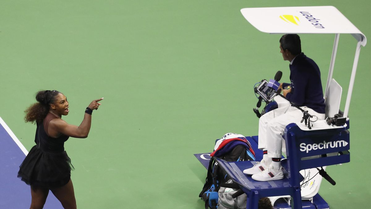 Serena Williams shouts at umpire Carlos Ramos in the US Open final