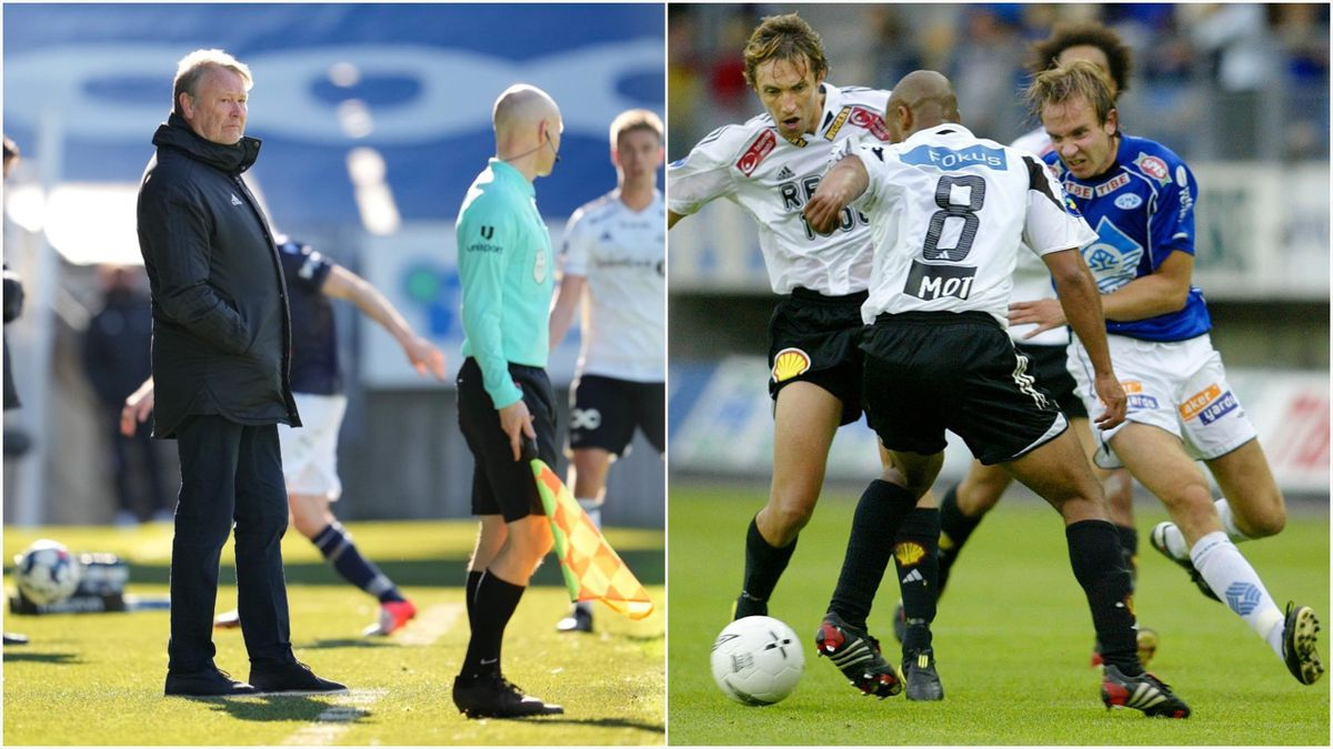 Til venstre: Nåværende Rosenborg-trener Åge Hareide. Til høyre: Tidligere Molde-spiller Bernt Hulsker (nåværende fotballekspert for Discovery) i duell med RBKs Vidar Riseth og Robbie Russell i seriekampen mellom de to lagene i Molde i 2004.