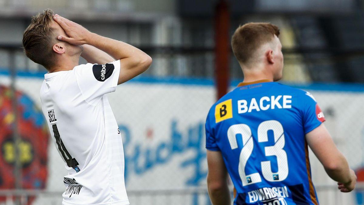 Mjøndalens William Sell fortviler under eliteseriekampen mellom Stabæk - Mjøndalen på Nadderud stadion