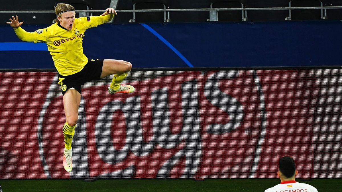 Erling Haaland jubelt über das 2:0 - Borussia Dortmund vs. FC Sevilla