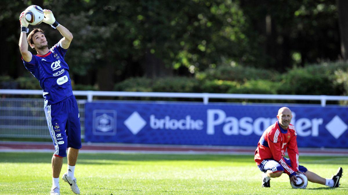Lloris à l'entraînement sous l'oeil de Barthez