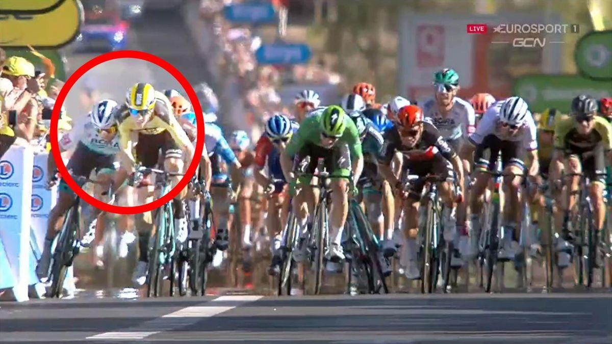 Peter Sagan leans a shoulder into Wout van Aert at the Tour de France