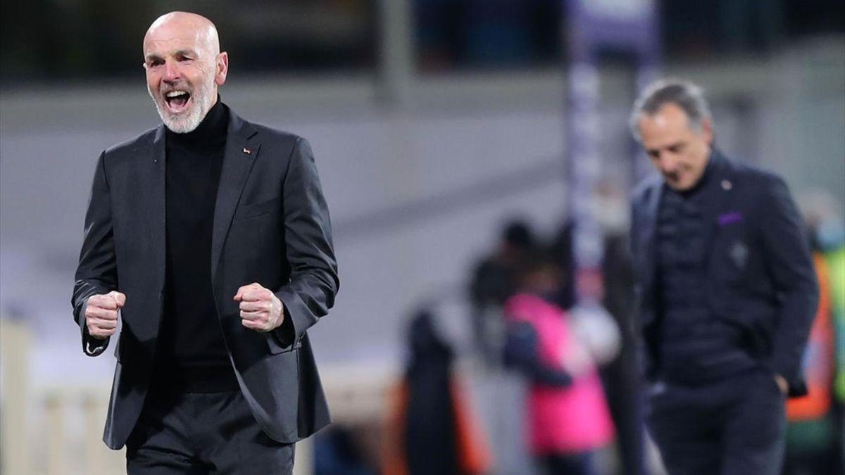 Stefano Pioli esulta per il gol vittoria nel finale - Fiorentina-Milan - Serie A 2020/2021 - Getty Images